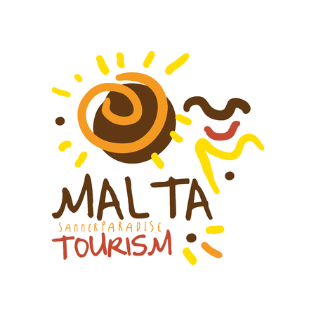 Malta summer paradise tourism  template hand drawn vector Illustration Çizim