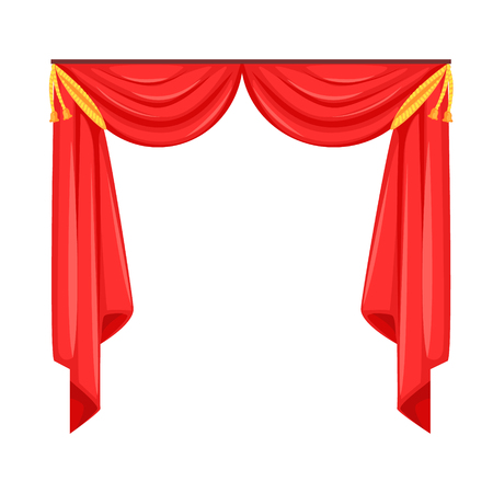Theater stage with red curtain vector Illustration Stock Vector - 79095705