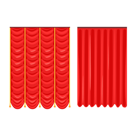 Scarlet theatre drapery vector Illustration vector Illustration isolated on a white background