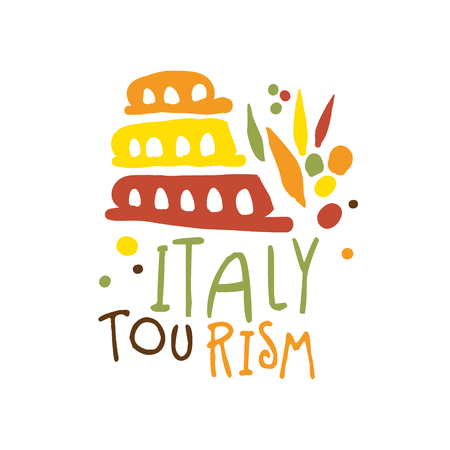 Italy tourism  template hand drawn vector Illustration