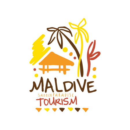 touristic: Maldive summer paradise tourism   template hand drawn vector Illustration for travel agency, tour guide, sticker, banner, card, advertisement Illustration