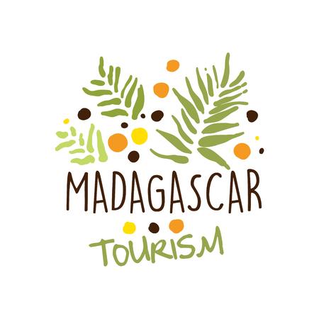 Madagaskar-Tourismuslogoschablone Hand gezeichneter Vektor Illustration Standard-Bild - 79096249