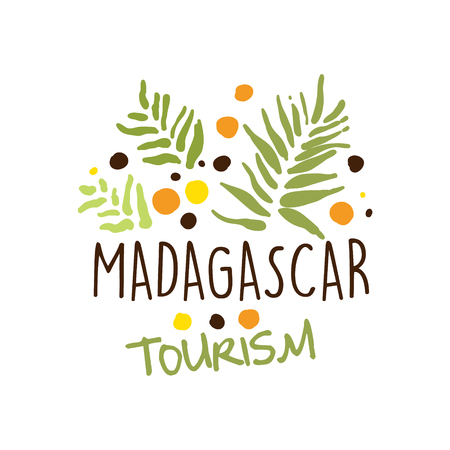 Madagascar tourism logo template hand drawn vector Illustration Illustration