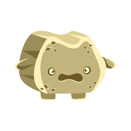 Cute gray bewildered rock element. Cartoon emotions character vector Illustration