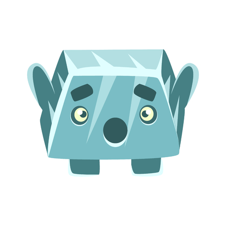Cute blue surprised rock element. Cartoon emotions character vector Illustration