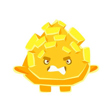 Netter gelber Kristallstein mit verärgertem Gesicht. Cartoon Emotionen Charakter Vektor Illustration auf einem weißen Hintergrund Standard-Bild - 79096758