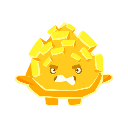 Cute yellow crystal stone with vexed face. Cartoon emotions character vector Illustration isolated on a white background
