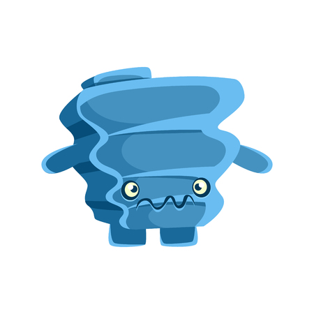 Cute blue suspicious rock element. Cartoon emotions character vector Illustration isolated on a white background