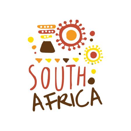 南アフリカ共和国観光ロゴ手描きのテンプレート ベクトル図旅行代理店、ツアーガイド、ステッカー、旗、カード、広告