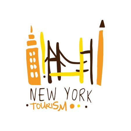 ニューヨーク観光のロゴのテンプレート手書きベクトル図
