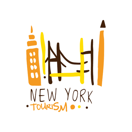 New York tourism logo template hand drawn vector Illustration Иллюстрация