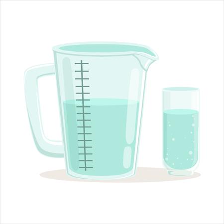 計量カップやガラスのキッチン用品ベクトル図  イラスト・ベクター素材