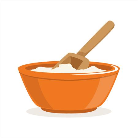 ベーキング成分ベクトル図木製スコップで小麦粉のボウル
