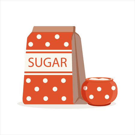 Red dotted pack of sugar and sugar bowl vector Illustration