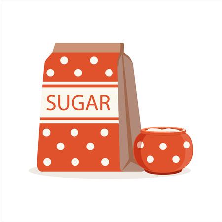 砂糖と砂糖ボウル ベクトル図の赤点線パック