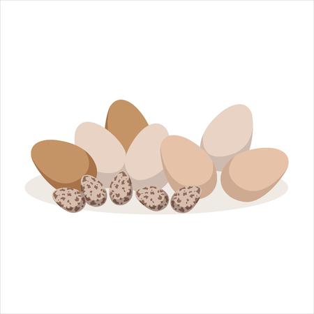 Kip en kwarteleitjes, bakken ingrediënt vectorillustratie Stock Illustratie