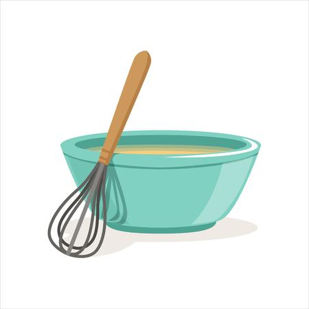 Ceramic bowl full of freshly prepared dough vector and whisk Illustration