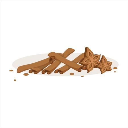 Cinnamon sticks and stars of anise baking ingredients vector Illustration Stock Vector - 79332173