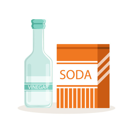 Soda in a craft paper bag and glass bottle of vinegar, baking ingredients vector Illustration Иллюстрация