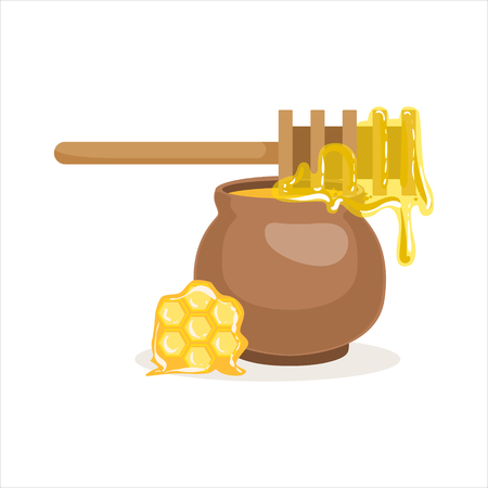 Wooden honey dipper and clay pot vector Illustration