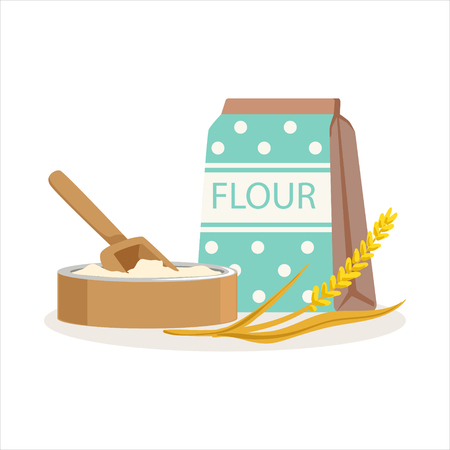 Flour in a craft paper bag and wooden bowl with scoop vector Illustration Çizim