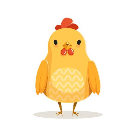 かわいい漫画鶏立っているカラフルな文字ベクトル図