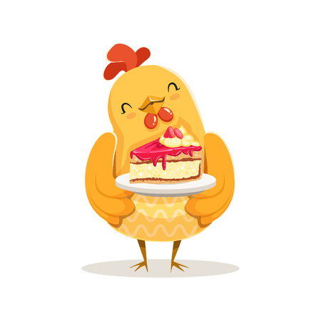 Funny cartoon chick bird standing and holding piece of cake colorful character vector Illustration Illustration