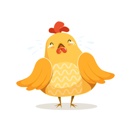 Cute cartoon chick bird crying colorful character vector Illustration