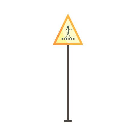 Pedestrian crossing traffic sign vector Illustration