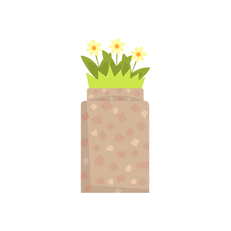 Stone flowerbed with flowers and green grass vector Illustration Illustration
