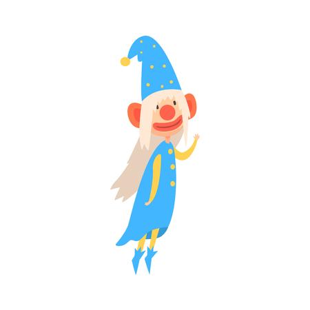 Grappige gnome die in een blauw met geschilderde het karakter vectorillustratie van het gezichts kleurrijke beeldverhaal draagt