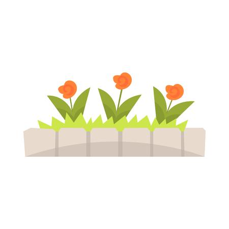 돌 테두리가있는 화 단의 오렌지 꽃 벡터 일러스트 레이션