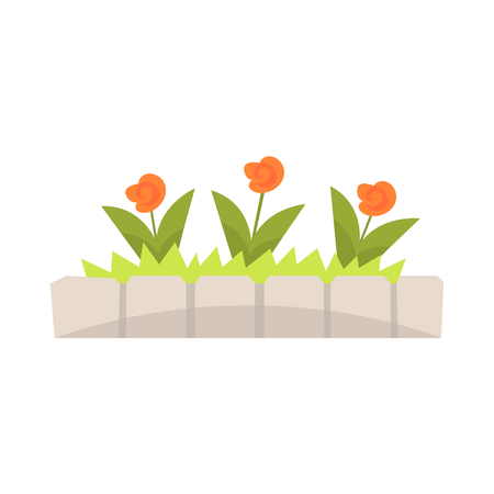 Orange flowers in flowerbed with stone border vector Illustration Illustration