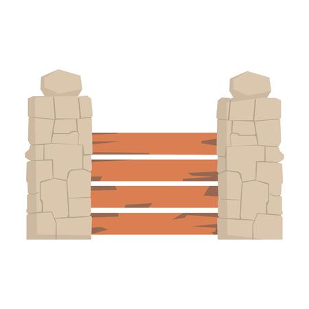 Houten omheining met horizontale planken en steenpijlers, de stedelijke vectorillustratie van het infrastructuurelement
