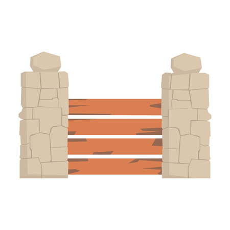 Wooden fence with horizontal planks and stone pillars, urban infrastructure element vector Illustration