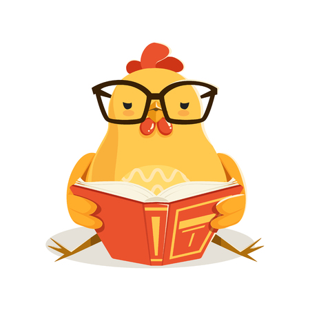 Cute cartoon chick bird sitting and reading a book colorful character vector Illustration