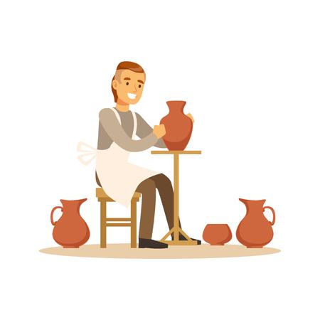 陶芸家男作る陶磁器の鍋、クラフトの趣味や職業のカラフルな文字ベクトル イラスト
