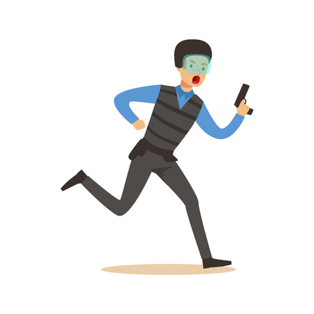 Police officer in body armor and mask running with a gun character vector Illustration Ilustração