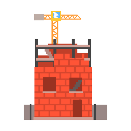 Construction of a brick house vector Illustration