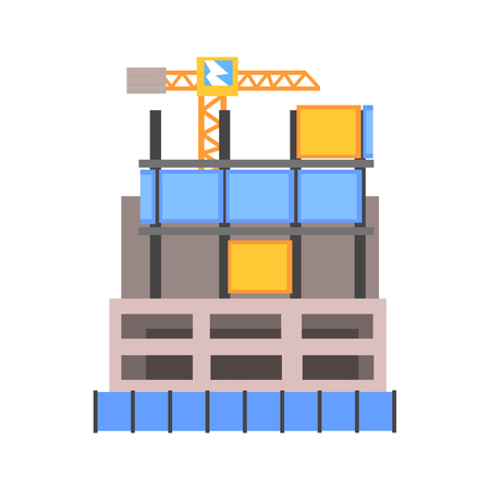 Modern building construction vector Illustration