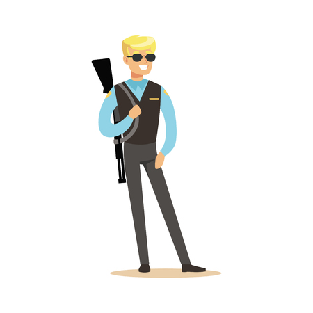 Police agent with rifle character vector Illustration