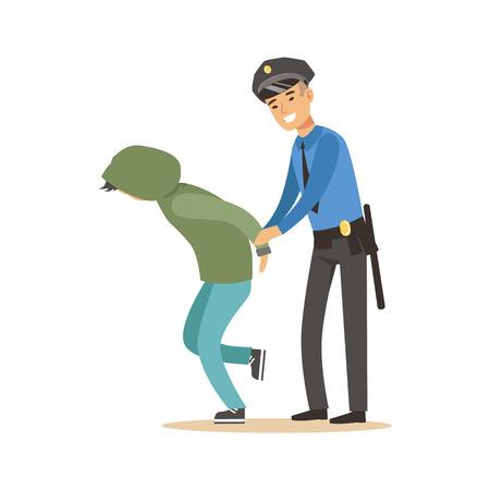 Police officer arresting criminal, character vector Illustration Stock Vector - 79332367