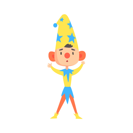 Boy in a clown medieval costume colorful cartoon character vector Illustration