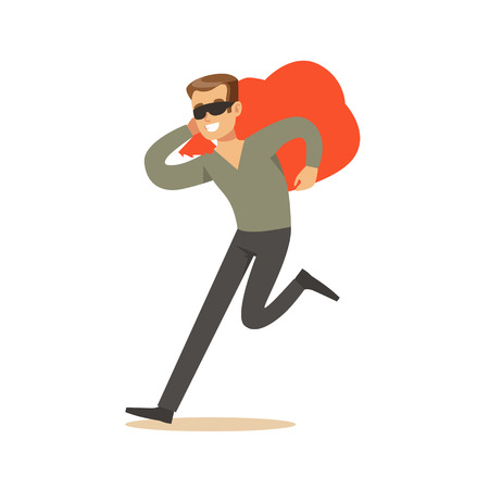 Thief in a black mask carrying an orange bag, robbery colorful character vector Illustration