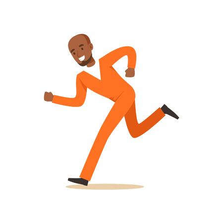 Criminele zwarte man in een oranje uniform loopt kleurrijke karakter vectorillustratie Stock Illustratie