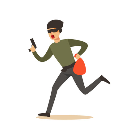 Thief in a mask running with a gun and a sack, robbery colorful character vector Illustration Illustration