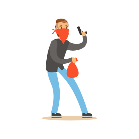 Masked robber holding a gun and carrying an orange bag, robbery colorful character vector Illustration Illustration