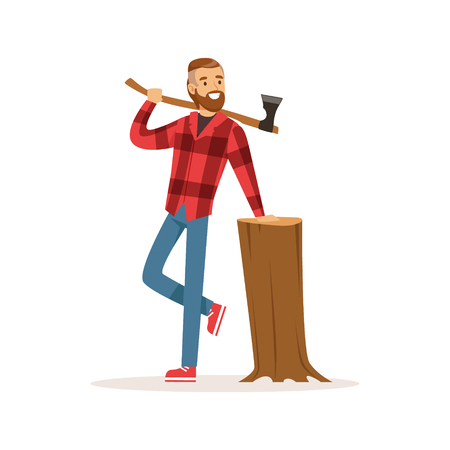 logging: Smiling lumberjack with an axe and downed log colorful character vector Illustration