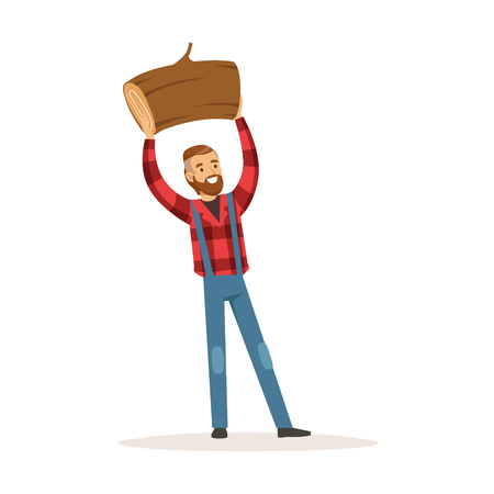 Smiling lumberjack man holding downed log colorful character vector Illustration