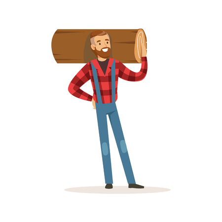 Strong lumberjack man holding downed log colorful character vector Illustration